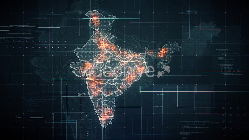 Black India Map with Lines Rollback Camera 4K Videohive 19768772 Motion Graphics Image 7