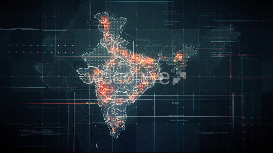 Black India Map with Lines Rollback Camera 4K Videohive 19768772 Motion Graphics Image 8