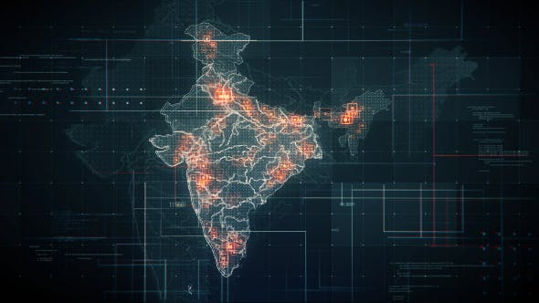 Black India Map with Lines Rollback Camera 4K - Videohive Download 19768772