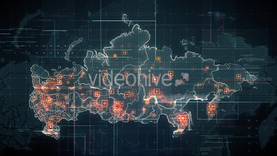 Black Russia Map with Lines Rollback Camera 4K Videohive 19713977 Motion Graphics Image 7