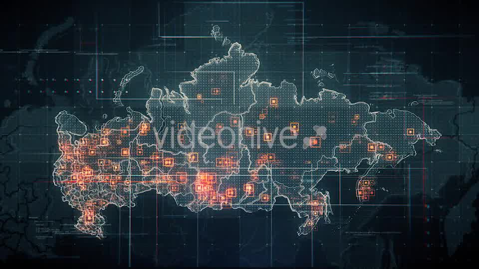 Black Russia Map with Lines Rollback Camera 4K Videohive 19713977 Motion Graphics Image 8