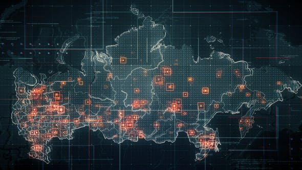 Black Russia Map with Lines Rollback Camera 4K - Download 19713977 Videohive