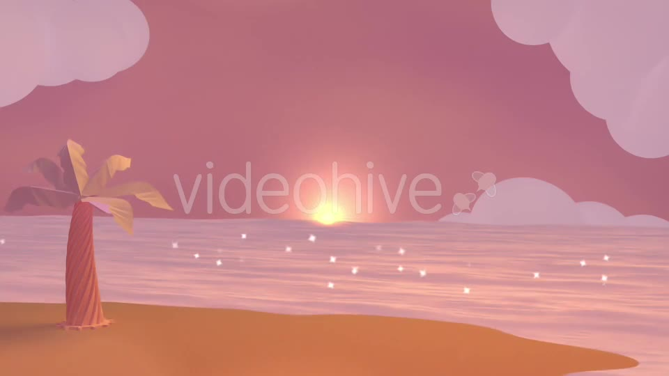 Cartoon Beach At Dusk Videohive 19781047 Motion Graphics Image 1