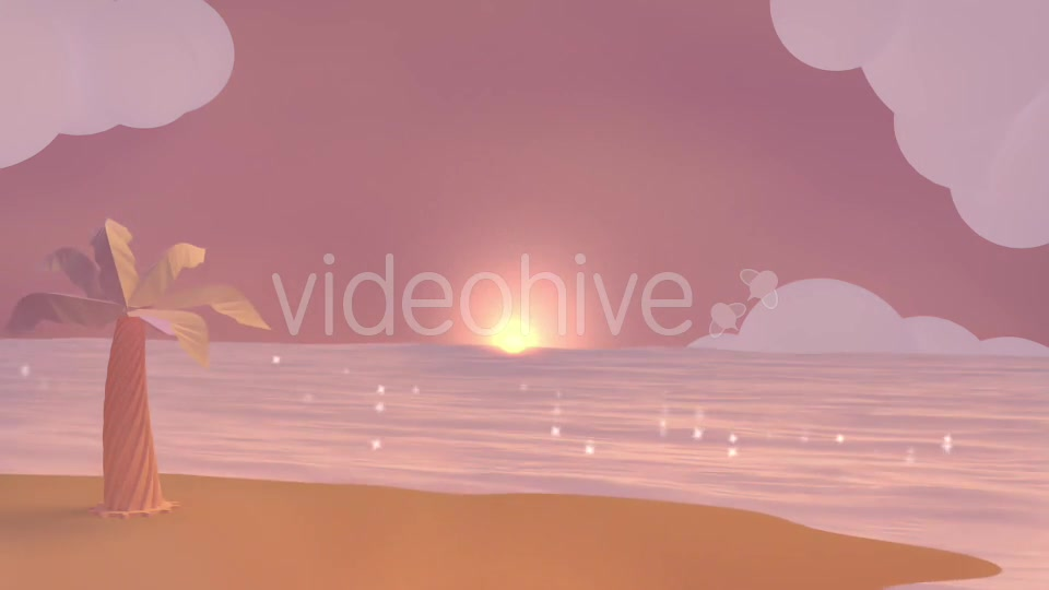 Cartoon Beach At Dusk Videohive 19781047 Motion Graphics Image 11