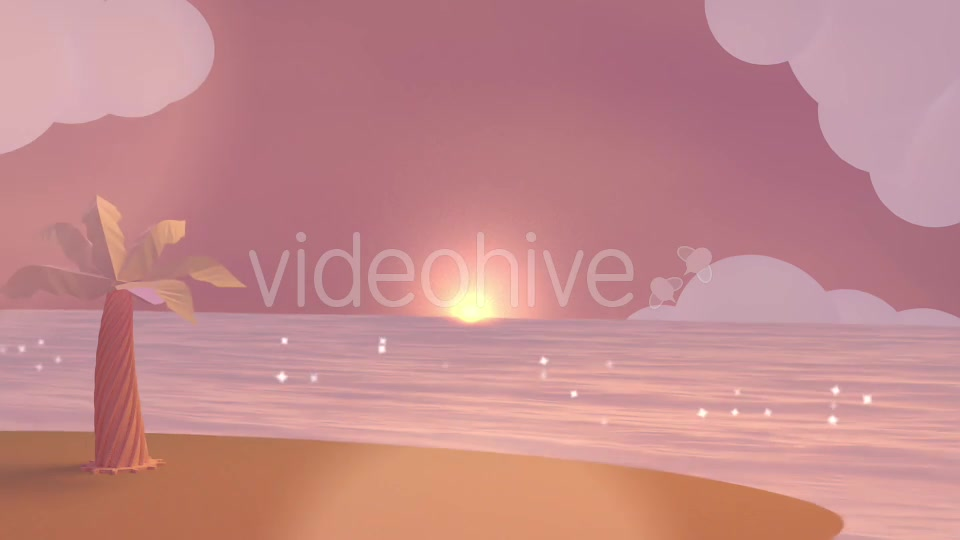 Cartoon Beach At Dusk Videohive 19781047 Motion Graphics Image 2