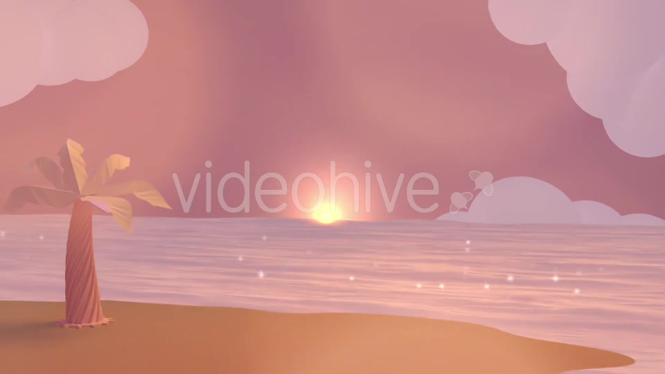 Cartoon Beach At Dusk Videohive 19781047 Motion Graphics Image 3