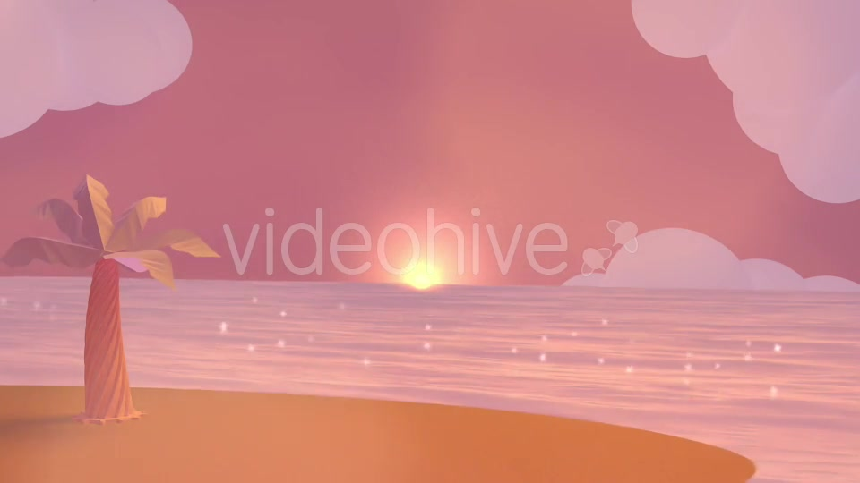 Cartoon Beach At Dusk Videohive 19781047 Motion Graphics Image 4
