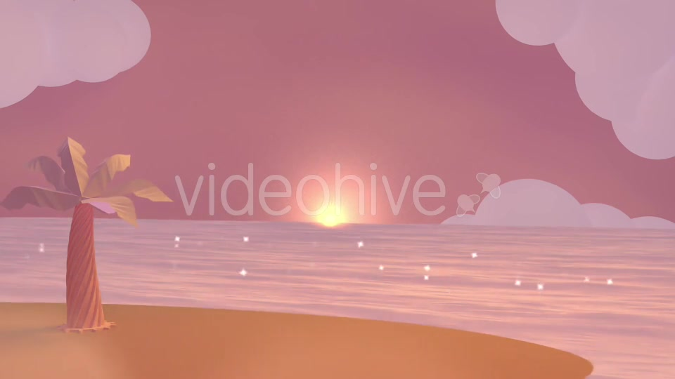 Cartoon Beach At Dusk Videohive 19781047 Motion Graphics Image 6