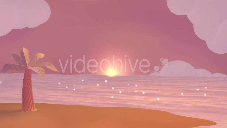 Cartoon Beach At Dusk Videohive 19781047 Motion Graphics Image 7