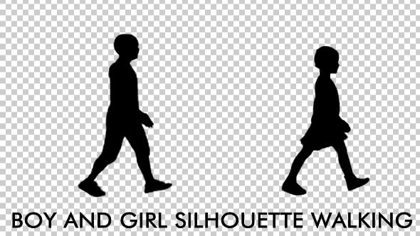 Girl and Boy Kids Silhouettes - Videohive Download 19713491