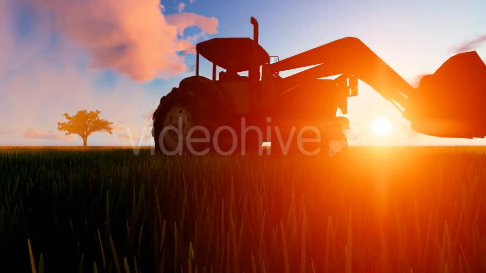 Tractor working in the field sunset Videohive 19761591 Motion Graphics Image 1
