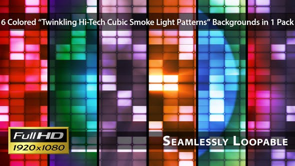 Twinkling Hi Tech Cubic Smoke Light Patterns Pack 02 - Videohive Download 6729715