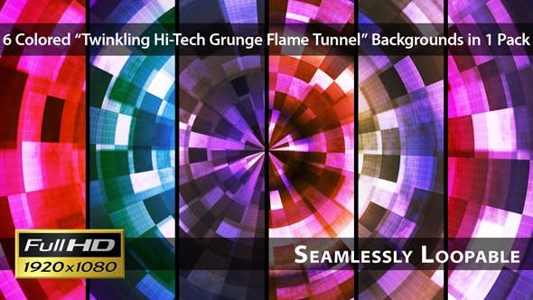 Twinkling Hi Tech Grunge Flame Tunnel Pack 03 - Videohive Download 6526101